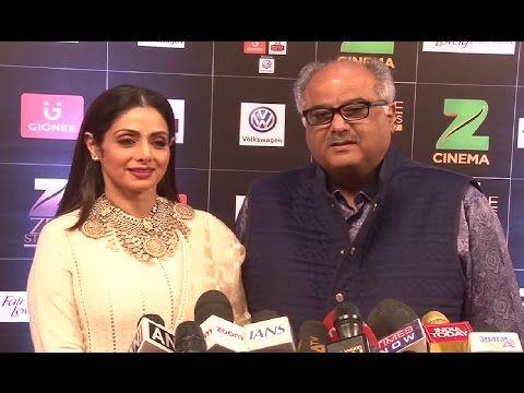Sridevi with husband Boney Kapoor at Zee Cine Awards 2017.
