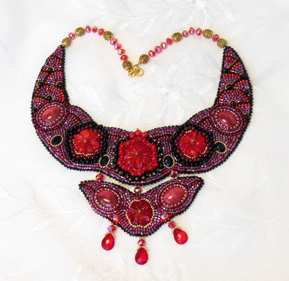 Ожерелье вышивка красный коралл цветочные ювелирные изделия от Reginao