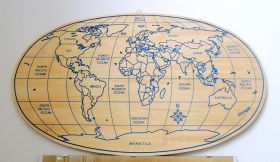 Geografica Ovale wooden planisphere Planisphere of birch plywood, 10mm (0.4 inches) thick, engraved, available in some variations.  #artigianato #decortiveaccessories