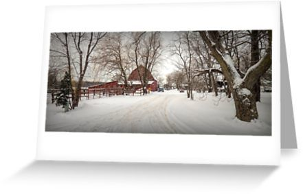 After a snow fall everything on the farm looks peaceful and fresh. / This image is © 2018 Leslie Montgomery All Rights Reserved • Also buy this artwork on stationery, apparel, stickers, and more.