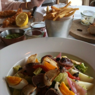 Seared Tuna Nicoise Salad and Black Cod Fish and Chips at Betty's Kitchen, IFC Mall, Central, Hong Kong