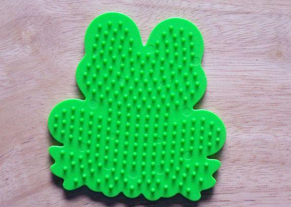 perler bead green frog pegboard ironing paper
