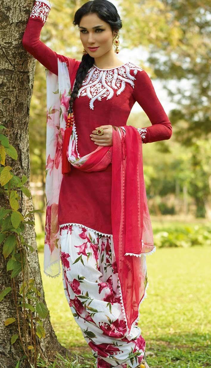 Designer Indian Red Cotton Casual Salwar Kameez