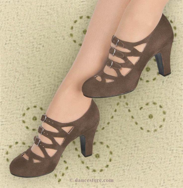 Aris Allen Women's Brown Velvet 1940s 3-Buckle Dance Shoes, dancestore.com - 2