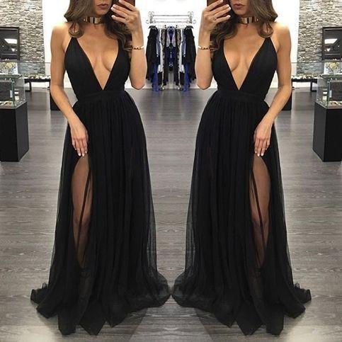 black Evening Dress,v-neck Prom Dress,long prom dress, sexy prom dress,tulle evening dress,BD2700