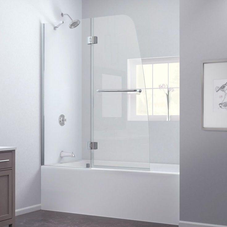 DreamLine Aqua 48 in. Frameless Hinged Tub Door (Brushed Nickel Tub Door), Silver