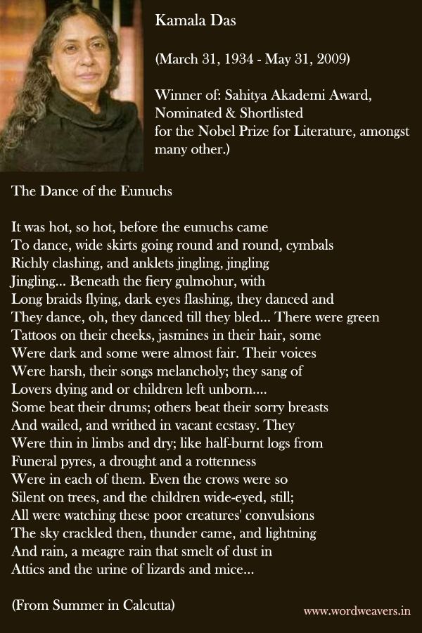 Kamala Das, poet and writer born today  March 31st, 1934 in Kerala, India. She was nominated for the Nobel Prize for Literature, and Sahitya Akademi Award. Eunuch is one of her bold poems.