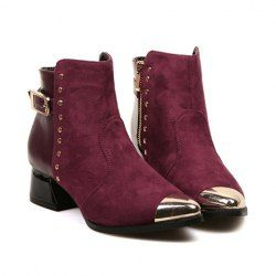 $18.40 British Style Women's Short Boots With Metallic and Rivets Design