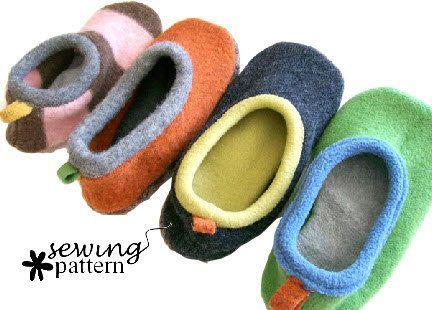 Wool Sweater Slipper PDF Pattern by fibersandtwigs on Etsy, $6.00