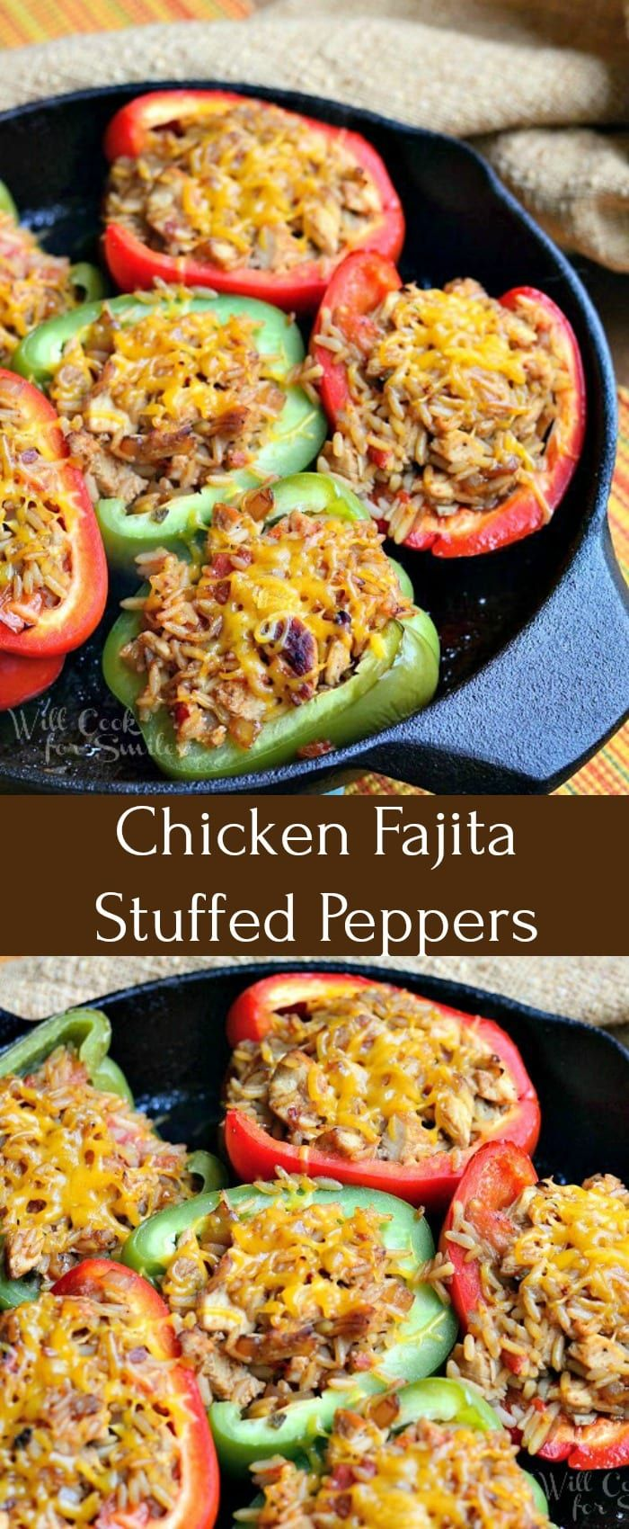 Chicken Fajita Stuffed Peppers Recipe Delicious Dinner Made With Red And Green Bell Peppers Stuffed With Fajita Marinated Grilled Chicken And Spa Pepers Peper