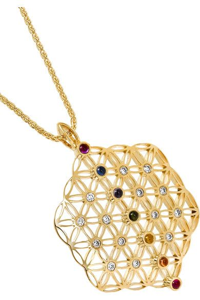 Noor Fares - Chakra Amulet 18-karat Gold Multi-stone Necklace - one size