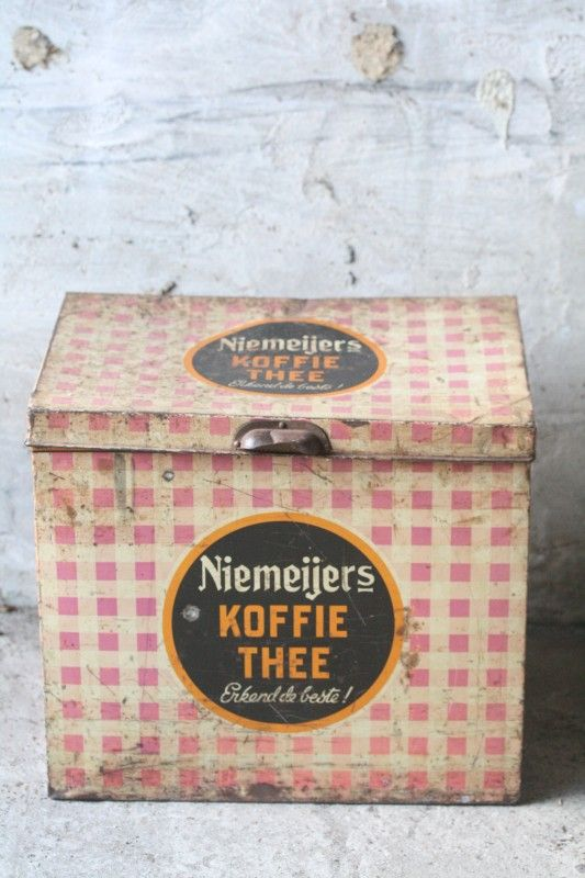 Bewaarblik Niemeijers Koffie en Thee uit de jaren 50.