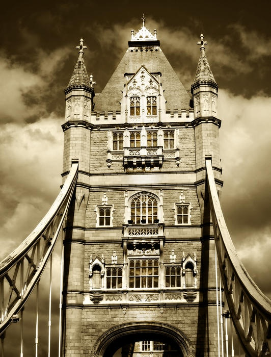A shot of Tower Bridge, London, against a very blue sky.