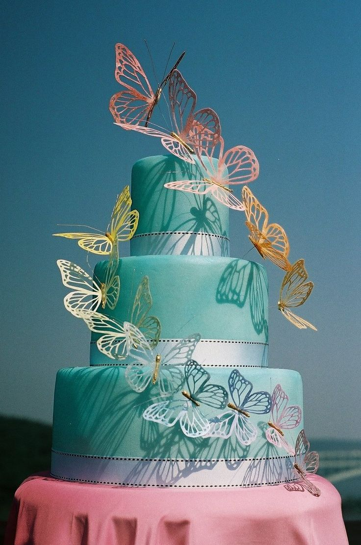 rainbow butterflies wedding cake