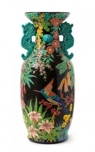 Longwy French Faience Twin-Handled Floor Vase