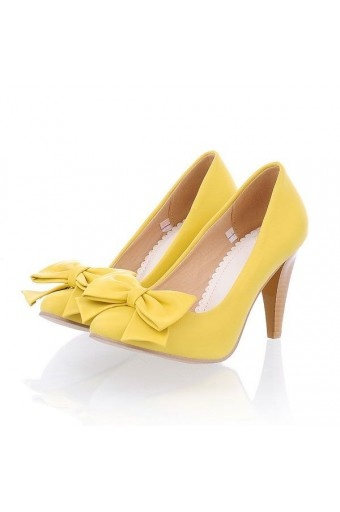 $20.99 Faux Leather Pure Color Front Bow Decor Heels...oh if only yellow was my color