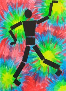 dreampainters: Disco Dancer: Fluro Paint & Cut Paper