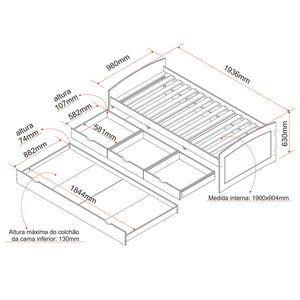 Cama Solteiro Multifuncional Madeira Maciça 3 Gavetas e Cama Auxiliar Ulli Interlink Branco