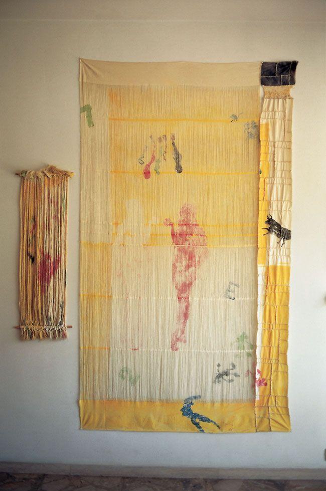 """La Peinture en Patchwork, """"Détissé"""", 1981 Fragment n°137 (231x131) et fils (108x37)"""