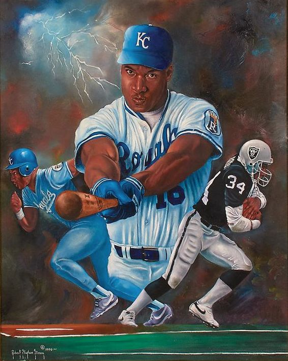 Bo Jackson oil painting by Robert Stephen Simon.