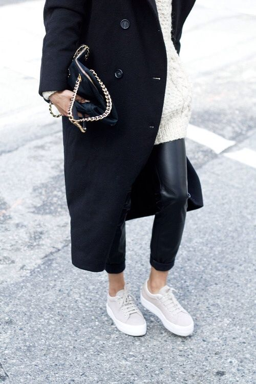 MINIMAL + CLASSIC- black, white, beige + cream- fall winter leather pants look