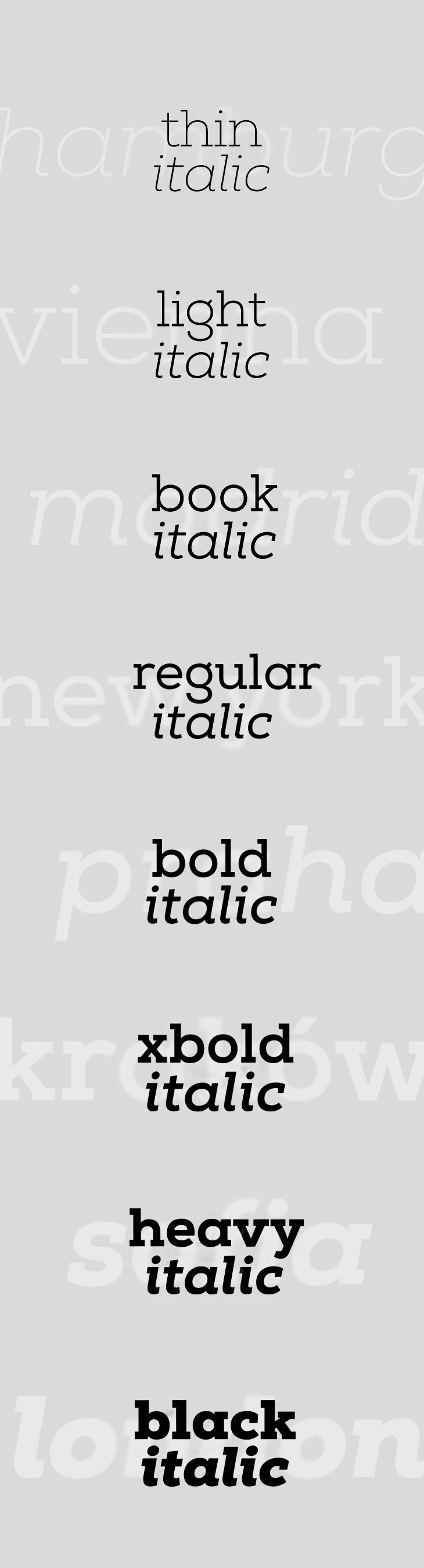 this font is a version of Slab nut it is Italic as well. I like how many ways its possible to use it such as bold or thin. This font is commonly used.