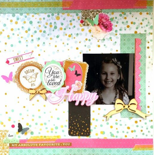 Kaisercraft : All That Glitters collection: Happy layout by Amanda Baldwin