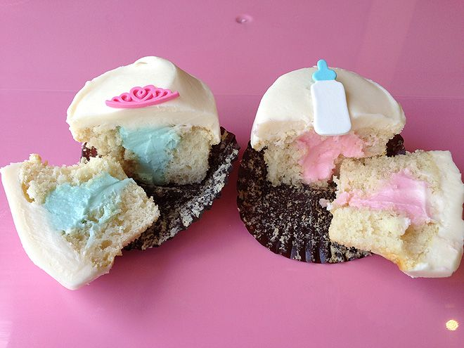 GENDER REVEAL CUPCAKES Buy It Now: At Sprinkles locations  Here's a novel way of celebrating the arrival of any royally cute bundle among your circle of friends – with Sprinkles's gender reveal cupcakes. Featuring a tiny tiara for a little princess or a blue baby bottle for a little prince, the limited-edition sweets are now available until the birth of #William and #Kate's little one. #RoyalBaby