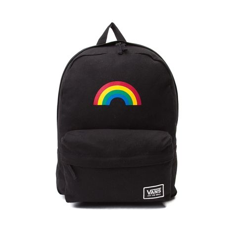 Brighten each day with the throwback style of the new Realm Classic Rainbow Backpack from Vans! Lead the pack with the Realm Classic Rainbow Backpack, sporting a sturdy canvas exterior with rainbow graphics, front organizer pocket, and spacious main compartment for all of your essentials.