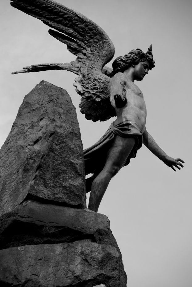 Edward, Tobacco, winged Genius. 1879. Bronze statue. Monument to the Frejus tunnel. Turin.