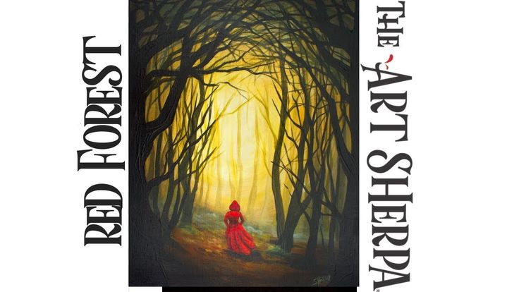How to paint Acrylic Dark Fairy tail Woods Red Riding Hood LIVE