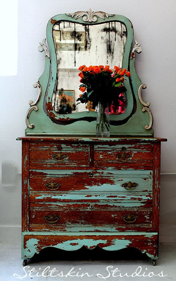 Perfect Lovely Shabby Cottage Farmhouse Dresser Cheval Mirror Distressed On Etsy,  £348.21