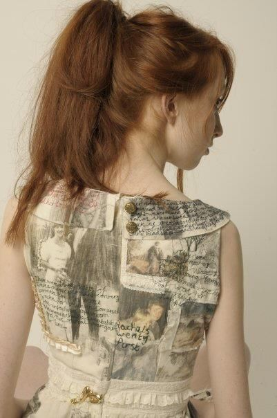 Harriet Popham's narrative dress celebrating the relationship between her mother and father in letters and photographs, transfered, embroidered and embelished