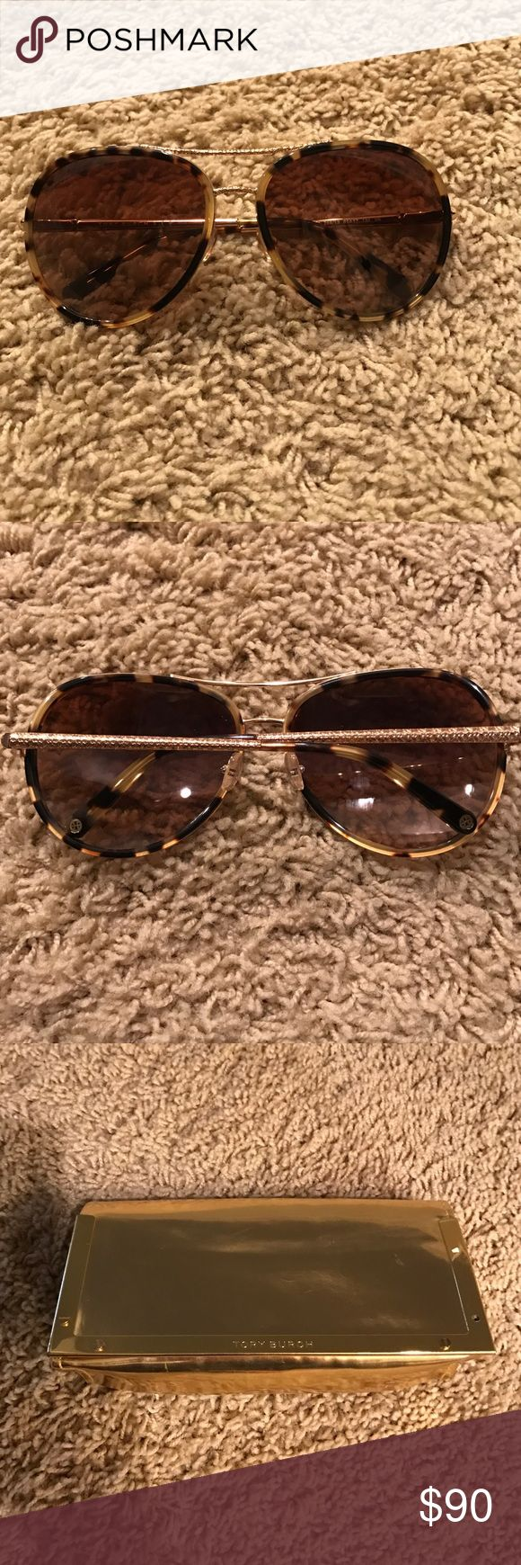 Tory Burch Tortoise Shell Sunglasses Tortoise Shell and Gold Tory Burch sunglasses. Never been worn. Gold storing case has some scratches. Tory Burch Accessories Sunglasses