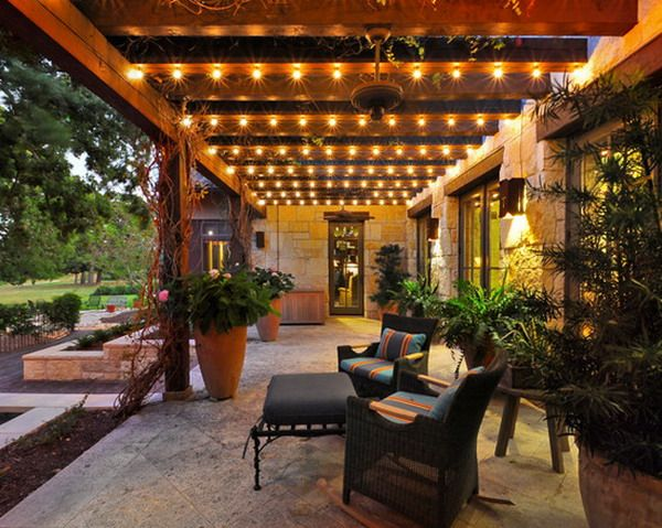 Nice Pergola Patio With String Lights..love color and everyting, great if lights were with motion detector!  def lights on back