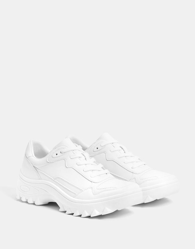5191918c7 White platform sneakers - Bershka #fashion #product #shoes #zapatos #cool  #trend #trendy #young #ss18 #new #sport #sporty #zapatillas #deportivas # trainers ...