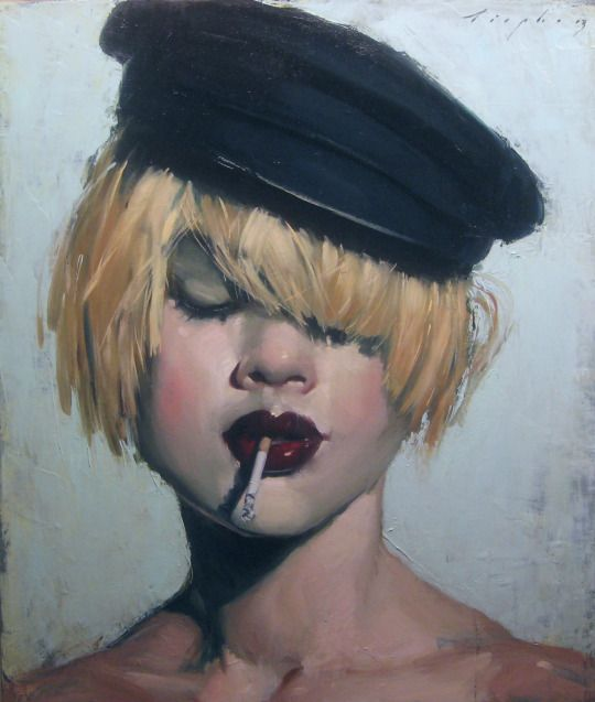 Hat Cigarette by Malcolm Liepke I wanna be cool like that girl in that painting