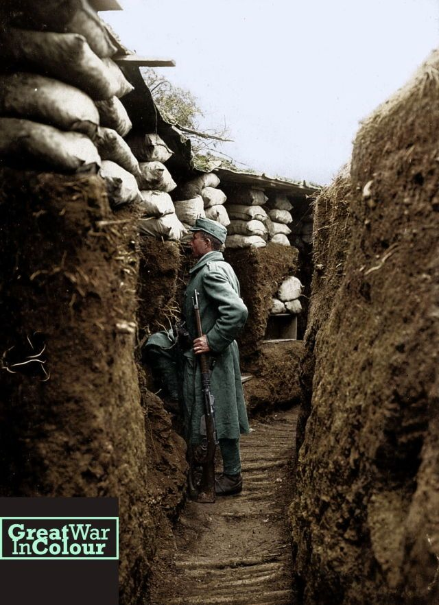 An Austrian soldier stands in a trench built along the Isonzo Valley, on the Italian front in 1916.
