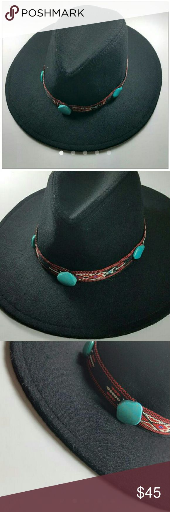 "New Southwestern Boho Hat Band If you are like me and enjoy changing up your hats by switching the hat band, then this handmade ""funkie"" is for YOU! It slips right onto your hat and measures approximately 24"". This band has a lovely tribal/southwestern design with 5 faux turquoise stones. *hat not included* Nepantla Shop Accessories"