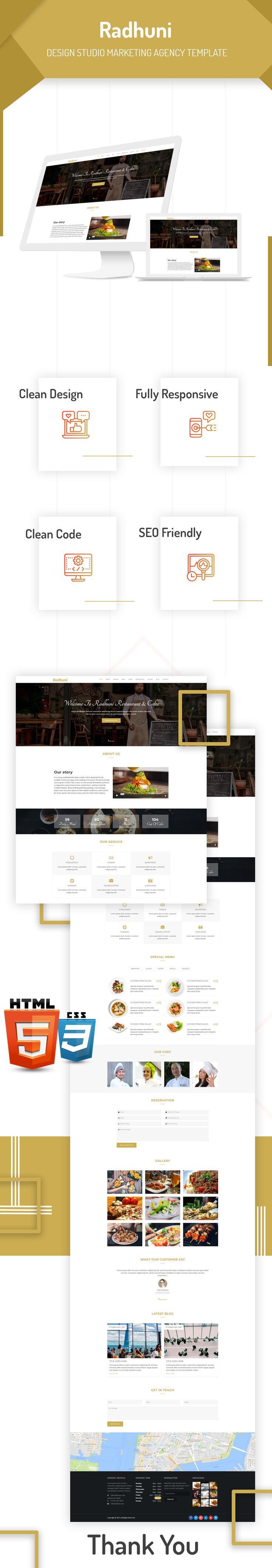 Radhuni is fully responsive, clean and flexible HTML template which suitable for Restaurant, Cafe, Bar or Bakery etc. This template created using the bootstrap framework with awesome features such as image slider, animated scrolling effect, google map and dynamic contact form. If you think you start a restaurant business then you can use this template. Radhuni – Restaurant & Coffee HTML Template gives you all the features to convert your visitor into customer and increase your sell.