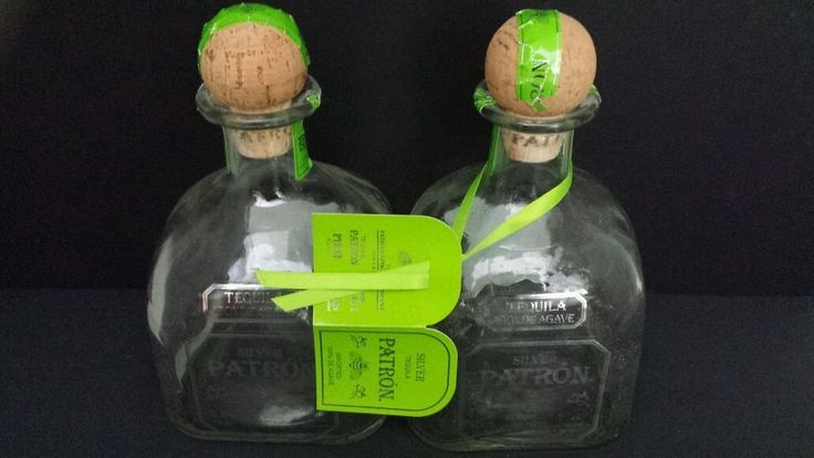 Beadshine Lot of 2 Empty Silver Patron Tequila Bottles Hand Blown Hand Bottling #Patron