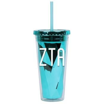 Zeta Tau Alpha ZTA Sorority Metallic Tumbler - Brothers and Sisters' Greek Store