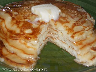 Old Fashioned Pancakes From Scratch ~ Ingredients: (Makes about 7-8 Good size Pancakes) 1 1/2 Cups of All-Purpose Flour 3 1/2 teaspoons of baking POWDER 1 teaspoon of salt 1 Tablespoon of White Sugar 1 1/4 Cups of Milk (We used Skim) 1 Egg 3 Tablespoons of melted butter