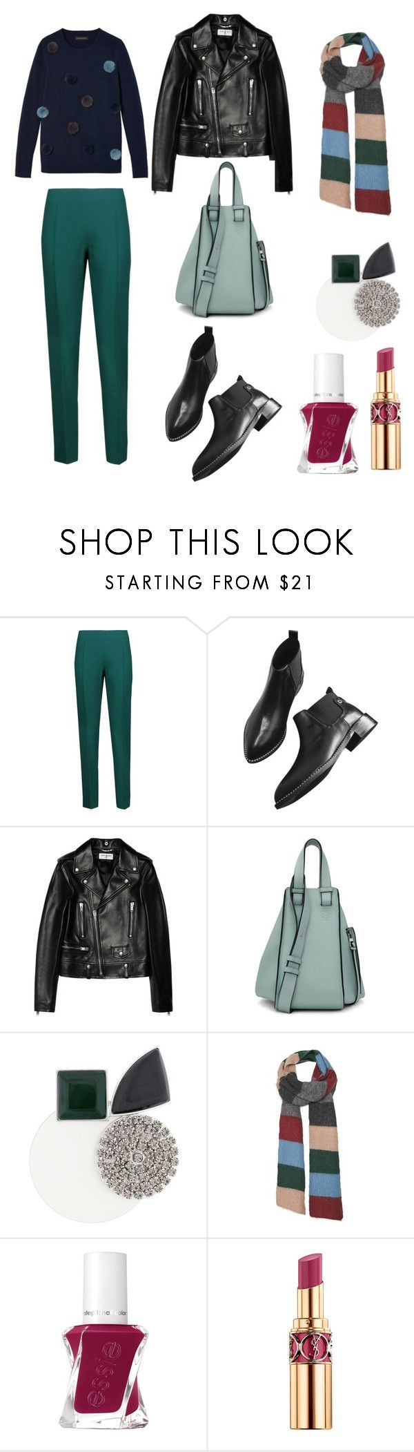 """Green trousers 5"" by mary-en ❤ liked on Polyvore featuring Antonio Berardi, Yves Saint Laurent, Loewe, Marni, StreetStyle, colorful, fallfashion and fall2017"