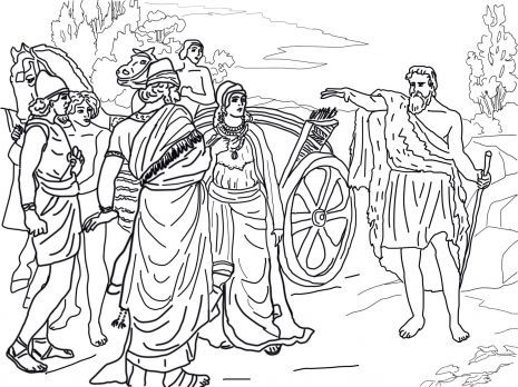 Jezebel And Ahab Meeting Elijah In Naboths Vineyard Coloring Page From Prophet Category Select 27318 Printable Crafts Of Cartoons Nature