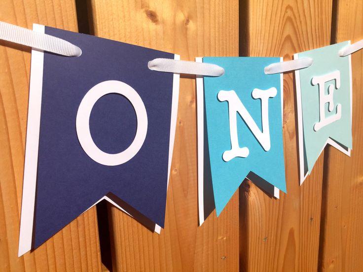 custom blue ombre 'ONE' high chair banner, birthday banner, happy birthday…