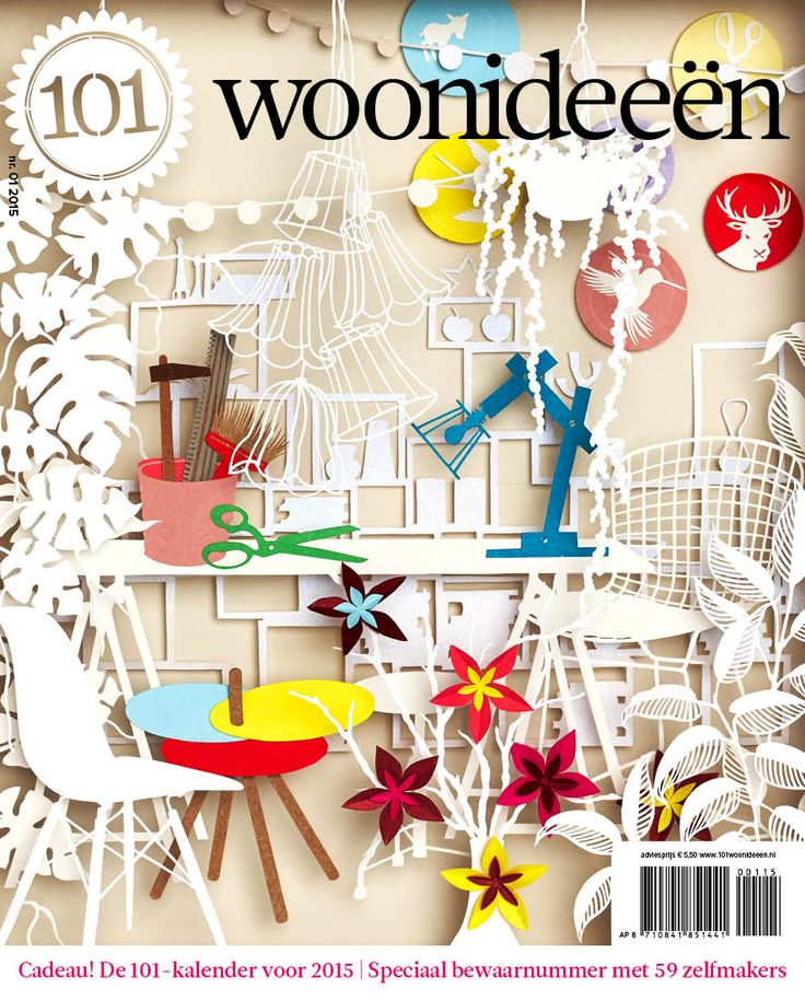 Cover Dutch creative interior magazine 101Woonideeen 01-2015 illustrated by Geertje Aalders