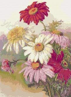 Daisies cross stitch kit or pattern