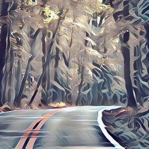 Asphalt road in the middle of a forest (surreal style). Carretera de asfalto en medio de un bosque (estilo surrealista). #forest #forests #bosque #bosques #carretera #carreteras #road #roads #asfalto #asphalt #art #arts #arte #artes #painting #paintings #paintwork #paintworks #picture #pictures