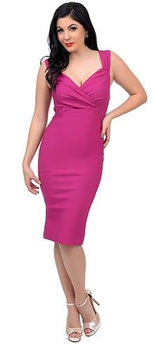 1950s Style Magenta Diva Fitted Wiggle Dress